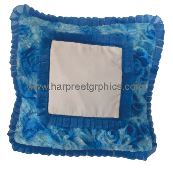 DOUBLE FRILL DOUBLE FUR SQUARE CUSHION (16